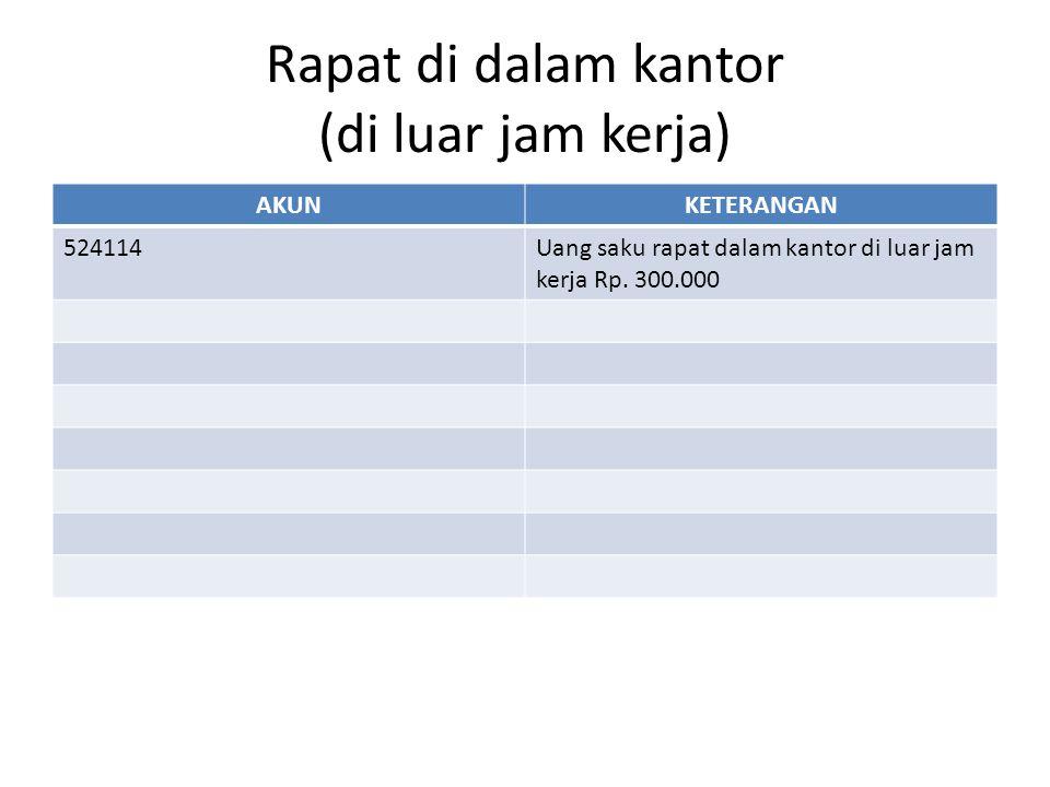 Rapat di luar kantor (di Jakarta) AKUNKETERANGAN 524113Uang transport Rp 150.000 (disertai surat tugas) 524114Paket meeting dalam kota Uang saku rapat/halfday/fullday/fullboard Uang transport Rp 150.000 524111Termasuk untuk menampung uang harian peserta diklat yang biayanya tidak ditanggung penyelenggara.