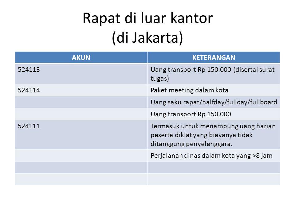 Rapat di luar kantor (di Jakarta) AKUNKETERANGAN 524113Uang transport Rp 150.000 (disertai surat tugas) 524114Paket meeting dalam kota Uang saku rapat