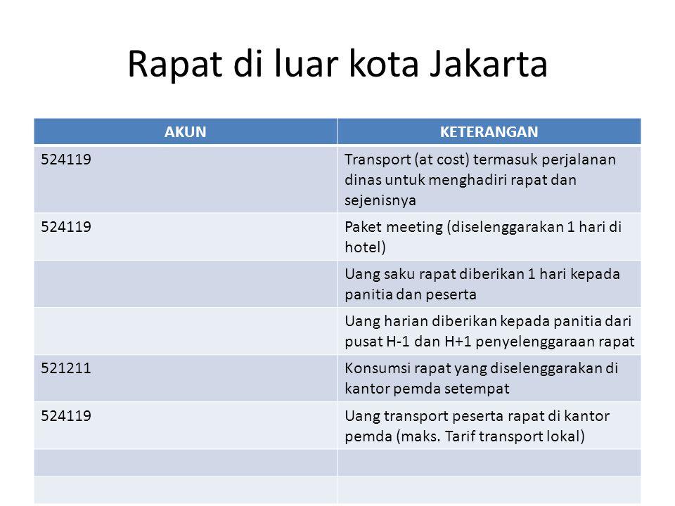 Rapat di luar kota Jakarta AKUNKETERANGAN 524119Transport (at cost) termasuk perjalanan dinas untuk menghadiri rapat dan sejenisnya 524119Paket meeting (diselenggarakan 1 hari di hotel) Uang saku rapat diberikan 1 hari kepada panitia dan peserta Uang harian diberikan kepada panitia dari pusat H-1 dan H+1 penyelenggaraan rapat 521211Konsumsi rapat yang diselenggarakan di kantor pemda setempat 524119Uang transport peserta rapat di kantor pemda (maks.
