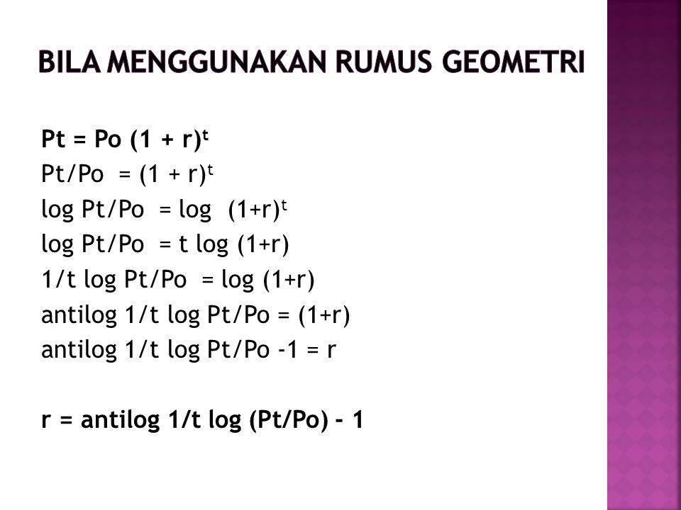 Pt = Po (1 + r) t Pt/Po = (1 + r) t log Pt/Po = log (1+r) t log Pt/Po = t log (1+r) 1/t log Pt/Po = log (1+r) antilog 1/t log Pt/Po = (1+r) antilog 1/t log Pt/Po -1 = r r = antilog 1/t log (Pt/Po) - 1