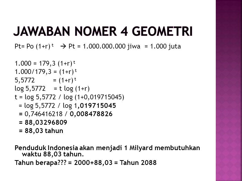 Pt= Po (1+r) t  Pt = 1.000.000.000 jiwa = 1.000 juta 1.000 = 179,3 (1+r) t 1.000/179,3 = (1+r) t 5,5772 = (1+r) t log 5,5772 = t log (1+r) t = log 5,5772 / log (1+0,019715045) = log 5,5772 / log 1,019715045 = 0,746416218 / 0,008478826 = 88,03296809 = 88,03 tahun Penduduk Indonesia akan menjadi 1 Milyard membutuhkan waktu 88,03 tahun.