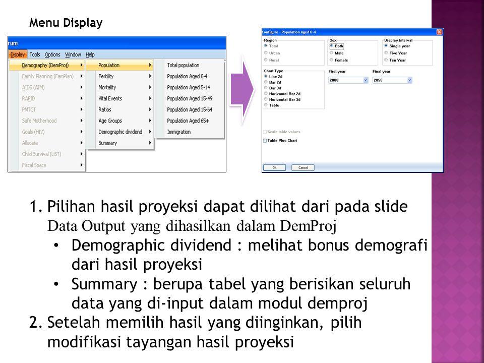 Menu Display 1.Pilihan hasil proyeksi dapat dilihat dari pada slide Data Output yang dihasilkan dalam DemProj Demographic dividend : melihat bonus demografi dari hasil proyeksi Summary : berupa tabel yang berisikan seluruh data yang di-input dalam modul demproj 2.Setelah memilih hasil yang diinginkan, pilih modifikasi tayangan hasil proyeksi