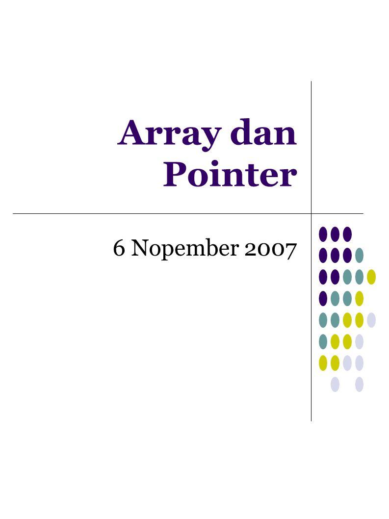 Pointer Pointer adalah suatu variabel yang menyimpan alamat memori Deklarasi pointer tipe_data *nama_pointer atau tipe_data* nama_pointer Contoh long x; // x bertipe long long *p; // p berupa pointer bertipe long p = &x; //mengisi alamat x ke p