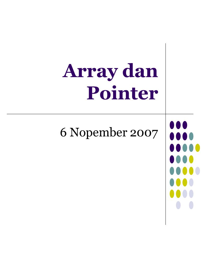 Definisi Array Array adalah sebuah variabel yang menyimpan sekumpulan data yang memiliki tipe sama Setiap data menempati lokasi/alamat memori yang berbeda-beda → elemen array Elemen array dapat diakses melalui indeks yang terdapat di dalamnya