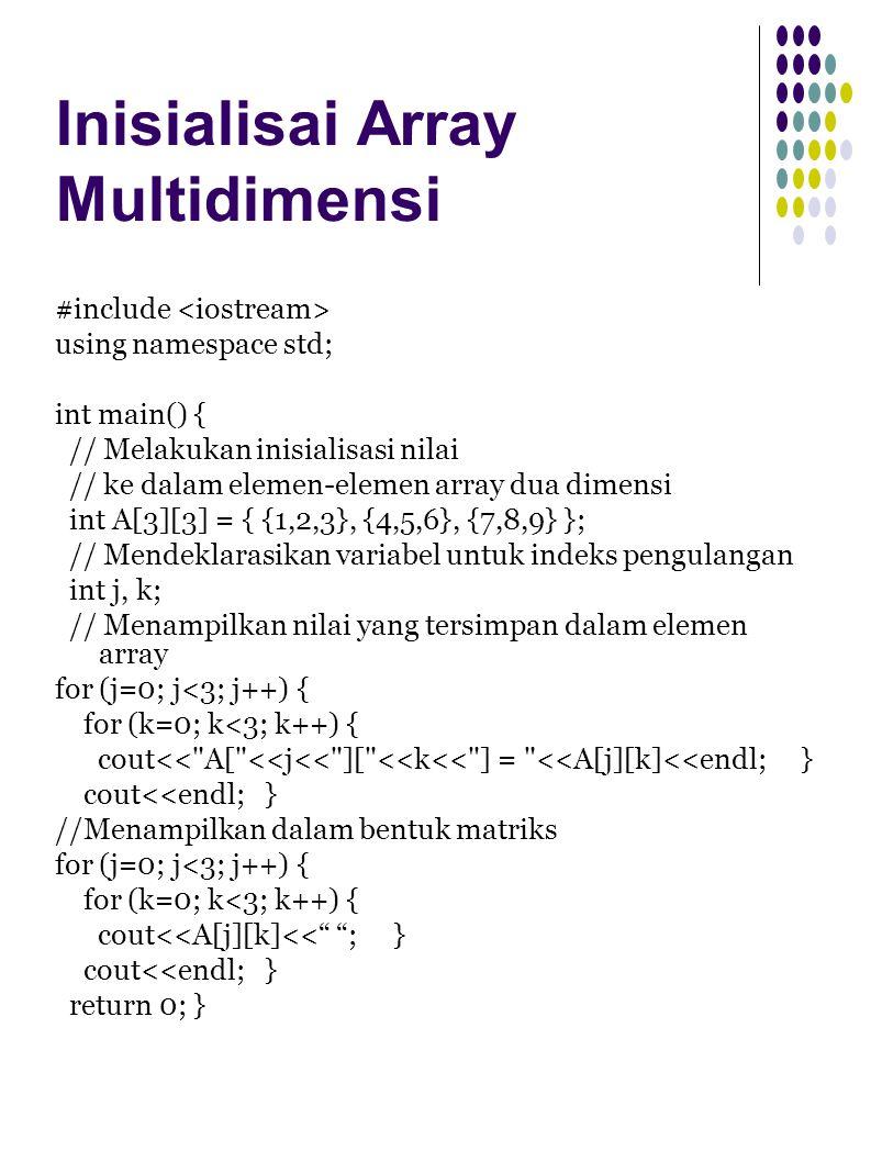 Inisialisai Array Multidimensi #include using namespace std; int main() { // Melakukan inisialisasi nilai // ke dalam elemen-elemen array dua dimensi