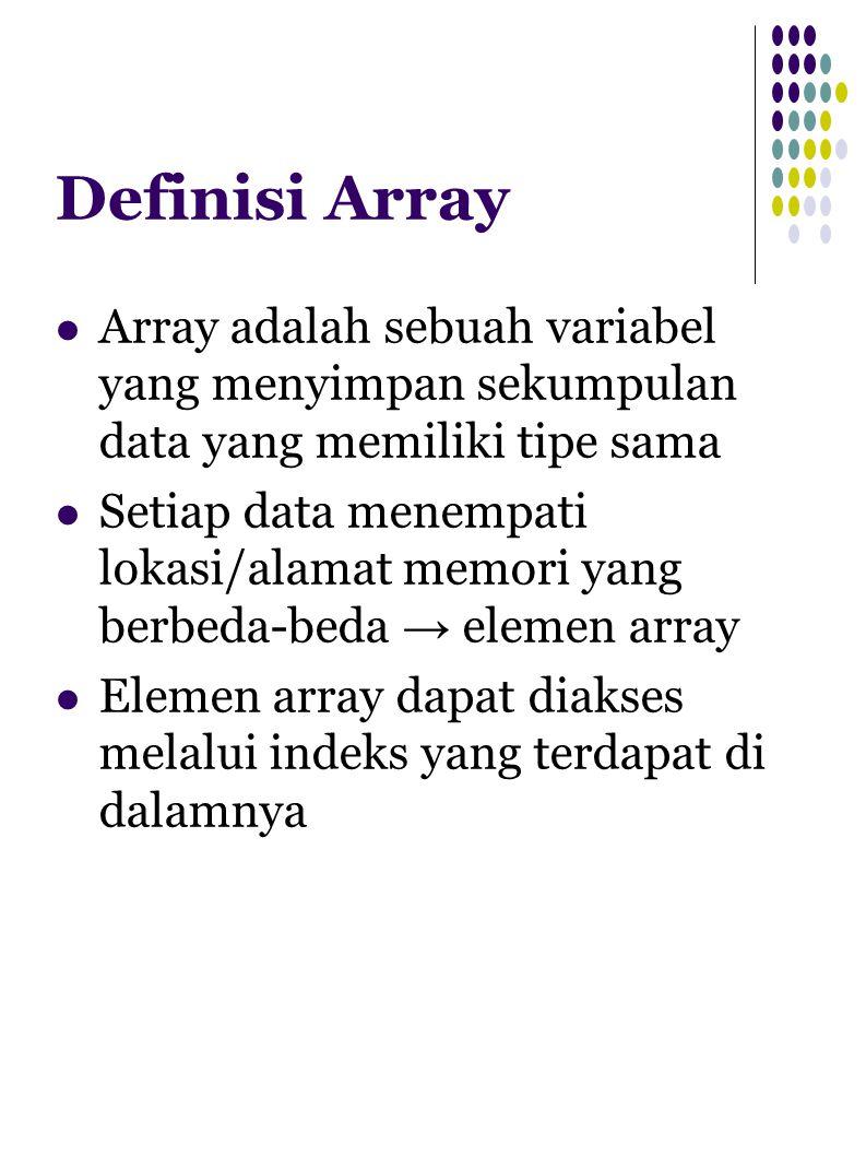 Definisi Array Array adalah sebuah variabel yang menyimpan sekumpulan data yang memiliki tipe sama Setiap data menempati lokasi/alamat memori yang ber