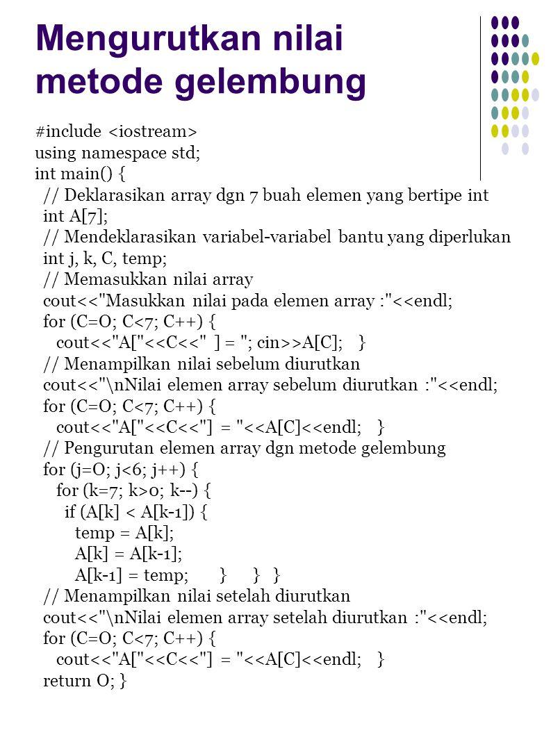 Pengurutan metode maksimum dan minimum #include using namespace std; int main() { // Mendeklarasikan array dgn 7 buah elemen yang bertipe int int A[7]; // Mendeklarasikan variabel bantu yang diperlukan int j, k, C, temp; // Memasukkan nilai array cout<< Masukkan nilai pada elemen array : <<endl; for (C=O; C<7; C++) { cout >A[C]; } // Menampilkan nilai sebelum diurutkan cout<< \nNilai elemen array sebelum diurutkan : <<endl; for (C=O; C<7; C++) { cout<< A[ <<C<< ] = <<A[C]<<endl; } // Pengurutan elemen array dgn metode maksimum-minimum int jmaks, U=6; for (j=0; j<6; j++) { jmaks = 0; for (k=1; k<=U; k++) { if (A[k] > A[jmaks]) { jmaks = k; } } temp = A[U]; A[U] = A[jmaks]; A[jmaks] = temp; U--; } // Menampilkan nilai setelah diurutkan cout<< \nNilai elemen array setelah diurutkan : <<endl; for (C=O; C<7; C++) { cout<< A[ <<C<< ] = <<A[C]<<endl; } return O; }