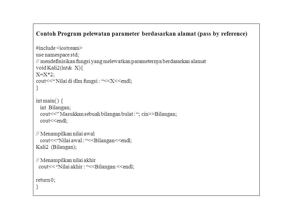 Melewatkan Parameter Berdasarkan Alamat (Pass by Reference) adalah melewatkan parameter sebuah fungsi berdasarkan alamatnya. Jika kita membuat alias d