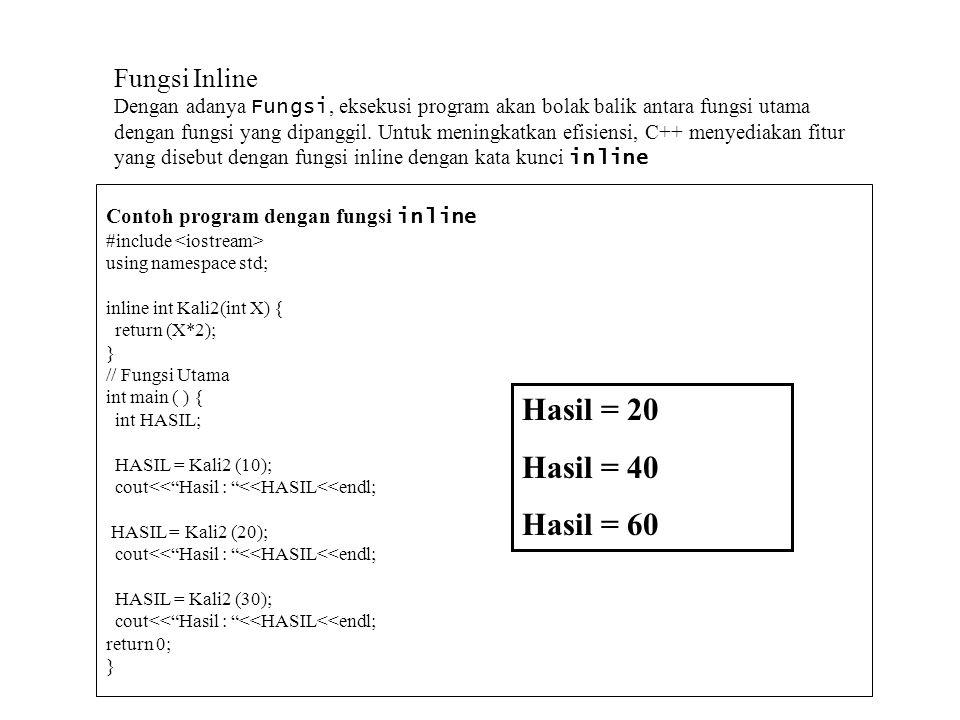 Continued // mendefinisikan fungsi Kali int Kali ( int X, int Y) { return (X * Y ); } // mendefinisikan fungsi Tulis void Tulis ( int S ) { cout<<S<<endl; } Masukkan bilangan pertama : 10 Masukkan bilangan kedua : 25 250 Hasilnya: