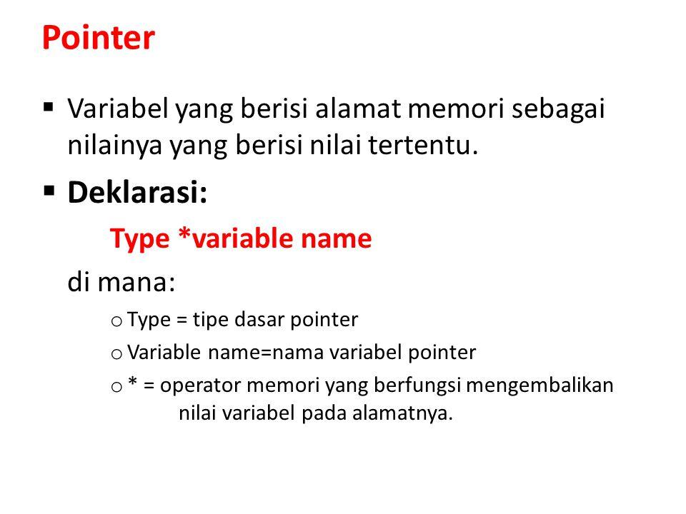 Contoh Program /*Program Aplikasi Pointer Konstanta Sebelum Tipe Data*/ #include using namespace std; main() { const int *P1; // P1 akan menunjuk ke tipe data int // yang bersifat tetap int X, Y; X = 5; Y = 10; P1 = &X; cout<< Nilai X: <<X<<endl; cout<< Nilai P1: <<P1<<endl; // *P1 = 5; // SALAH, karena nilai yang ditunjuk oleh P1 // (nilai *P1) bersifat tetap P1 = &Y; // BENAR, karena pointer P1 tidak bersifat tetap cout<< Nilai Y: <<Y<<endl; cout<< Nilai P1: <<P1<<endl; return 0; }