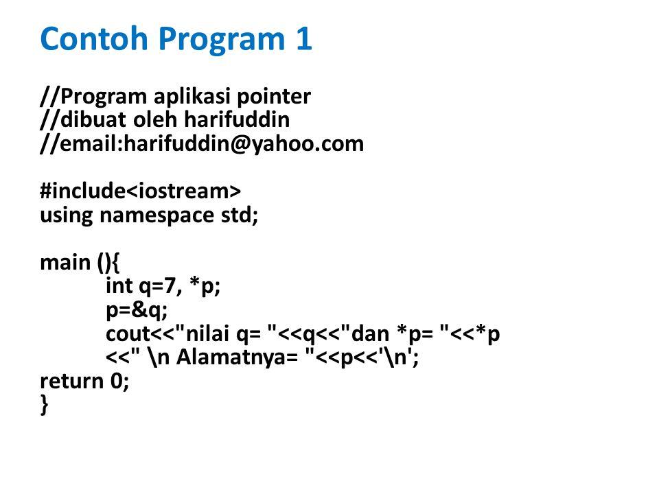 //Program Aplikasi Pointer dalam Pointer #include using namespace std; main(){ int x, *p, **q; x=10; p=&x; q=&p; cout<<**q<<endl; return 0; } Contoh Program