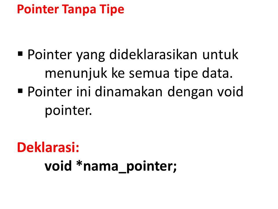 // Program aplikasi pointer tanpa tipe // Oleh harifuddin // Email: harifuddin@yahoo.com #include using namespace std; main() { void *P; /* Mendeklarasikan pointer P sebagai pointer tanpa tipe*/ // Mendeklarasikan variabel X, Y dan Z dengan tipe berbeda int X; long Y; doble Z; // Memerintahkan P untuk menunjuk ke alamat dari variabel X P = &X; X = 10;// Mengisikan variabel X dengan nilai 10 cout<< Nilai X: <<X<<endl; cout<< Nilai P: <<P<<endl; cout<< Alamat &X : <<&X<<endl; // Memerintahkan P untuk menunjuk ke alamat dari variabel Y P = &Y; Y = 200;// Mengisikan variabel Y dengan nilai 2000 cout<< \n << Nilai Y : <<Y<<endl; cout<< Nilai P: <<P<<endl; cout<< Alamat &Y : <<&Y<<endl; // Memerintahkan P untuk menunjuk ke alamat dari variabel Z P = &Z; Z = 2000;// Mengisikan variabel Z dengan nilai 21.0378 cout<< \n << Nilai Z : <<Z<<endl; cout<< Nilai P: <<P<<endl; cout<< Alamat &Z : <<&Z<<endl; return 0; } Contoh Program