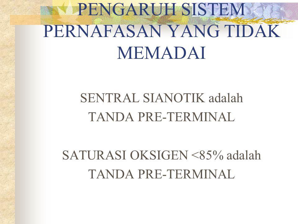 PENGARUH SISTEM PERNAFASAN YANG TIDAK MEMADAI SENTRAL SIANOTIK adalah TANDA PRE-TERMINAL SATURASI OKSIGEN <85% adalah TANDA PRE-TERMINAL