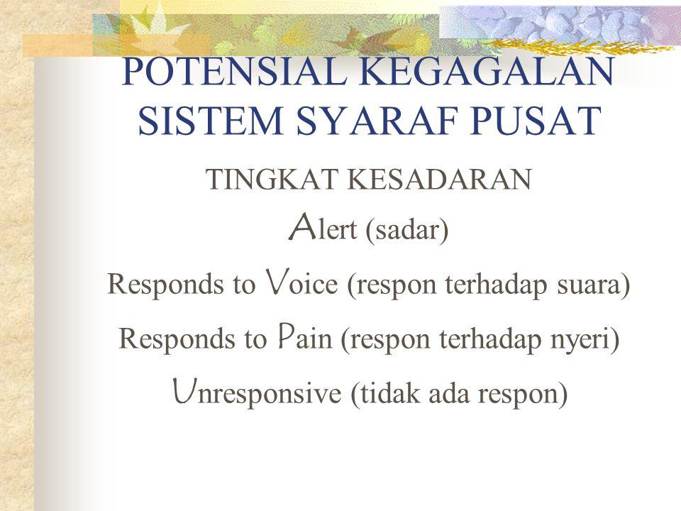 POTENSIAL KEGAGALAN SISTEM SYARAF PUSAT TINGKAT KESADARAN A lert (sadar) Responds to V oice (respon terhadap suara) Responds to P ain (respon terhadap nyeri) U nresponsive (tidak ada respon)