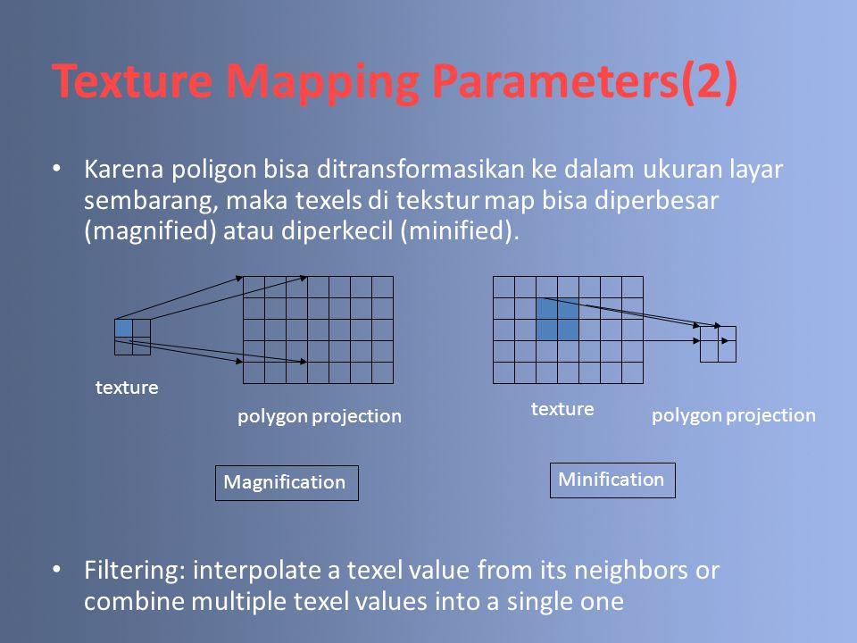 Texture Mapping Parameters(2) Karena poligon bisa ditransformasikan ke dalam ukuran layar sembarang, maka texels di tekstur map bisa diperbesar (magni