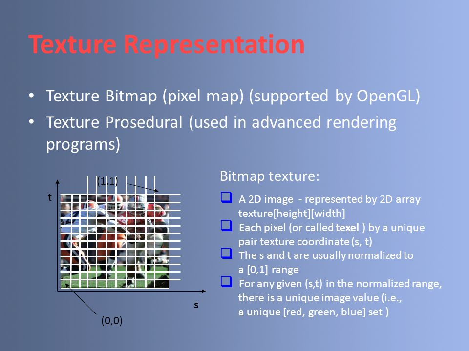 Texture Representation Texture Bitmap (pixel map) (supported by OpenGL) Texture Prosedural (used in advanced rendering programs) s t (0,0) (1,1) Bitmap texture:  A 2D image - represented by 2D array texture[height][width]  Each pixel (or called texel ) by a unique pair texture coordinate (s, t)  The s and t are usually normalized to a [0,1] range  For any given (s,t) in the normalized range, there is a unique image value (i.e., a unique [red, green, blue] set )