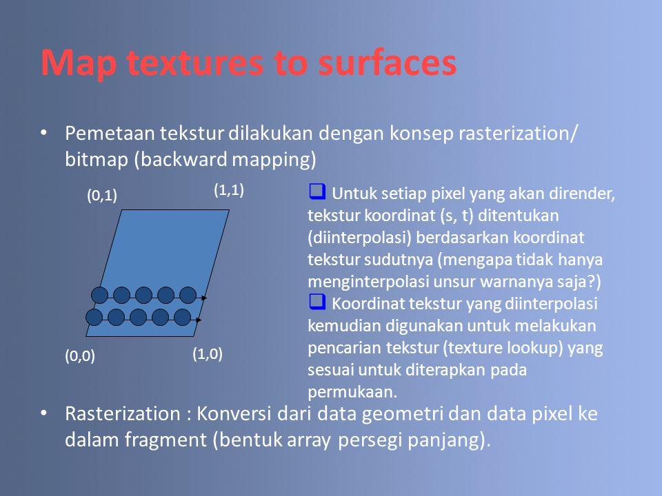 Map textures to surfaces Pemetaan tekstur dilakukan dengan konsep rasterization/ bitmap (backward mapping) Rasterization : Konversi dari data geometri