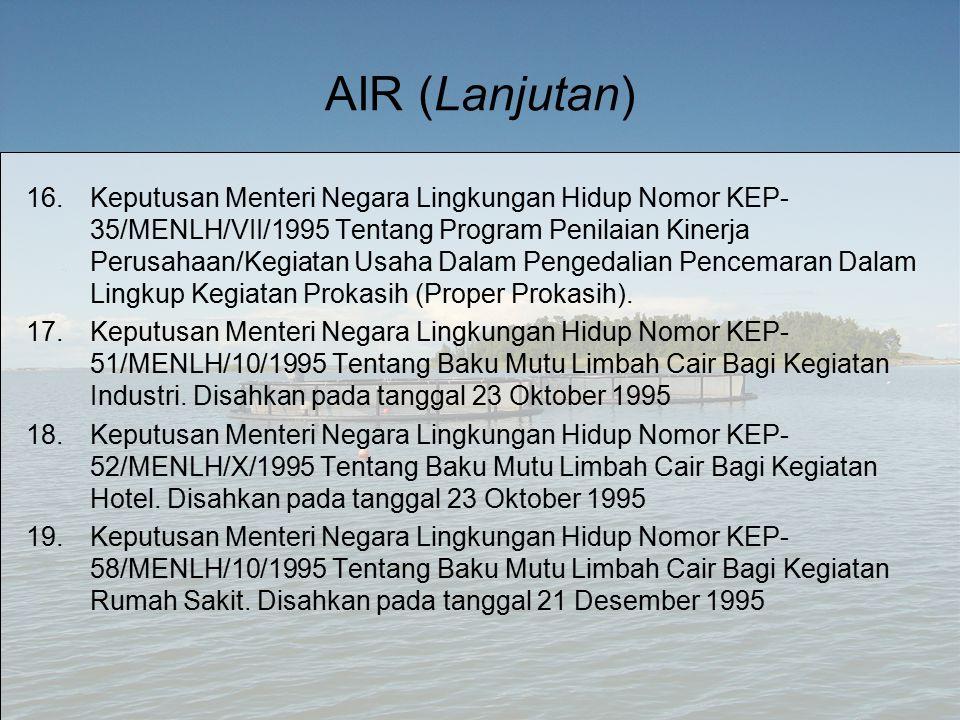 AIR (Lanjutan) 16.Keputusan Menteri Negara Lingkungan Hidup Nomor KEP- 35/MENLH/VII/1995 Tentang Program Penilaian Kinerja Perusahaan/Kegiatan Usaha Dalam Pengedalian Pencemaran Dalam Lingkup Kegiatan Prokasih (Proper Prokasih).