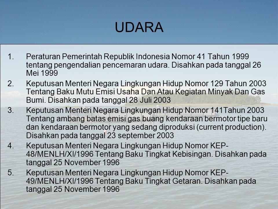 UDARA 1.Peraturan Pemerintah Republik Indonesia Nomor 41 Tahun 1999 tentang pengendalian pencemaran udara.