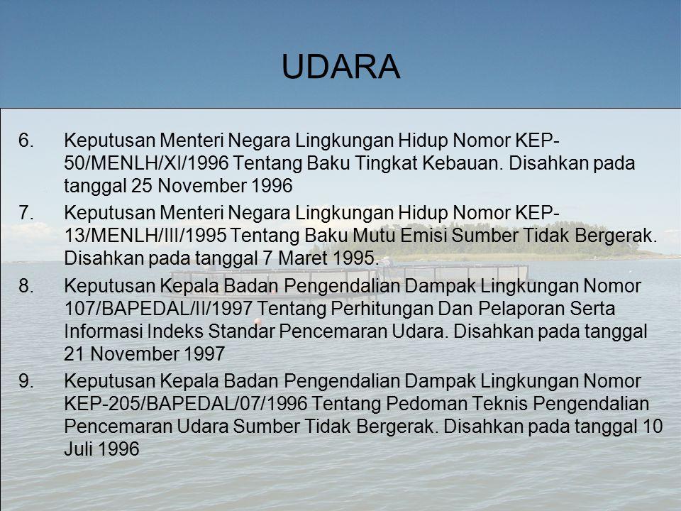 UDARA 6.Keputusan Menteri Negara Lingkungan Hidup Nomor KEP- 50/MENLH/XI/1996 Tentang Baku Tingkat Kebauan.