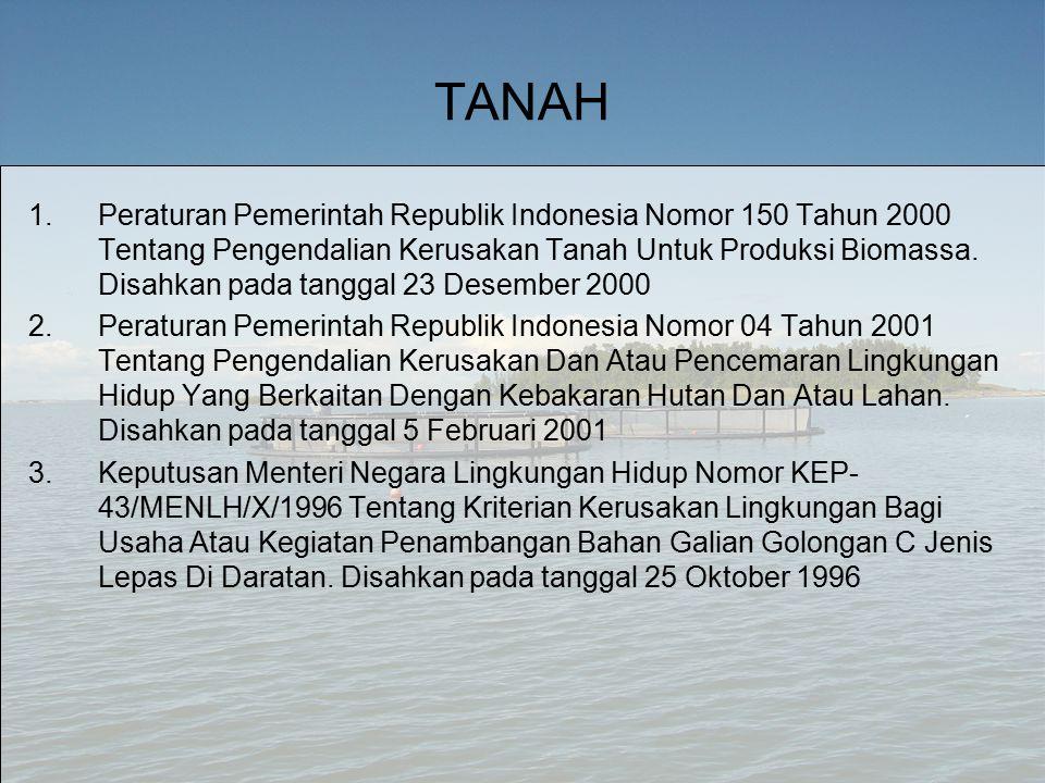 TANAH 1.Peraturan Pemerintah Republik Indonesia Nomor 150 Tahun 2000 Tentang Pengendalian Kerusakan Tanah Untuk Produksi Biomassa.