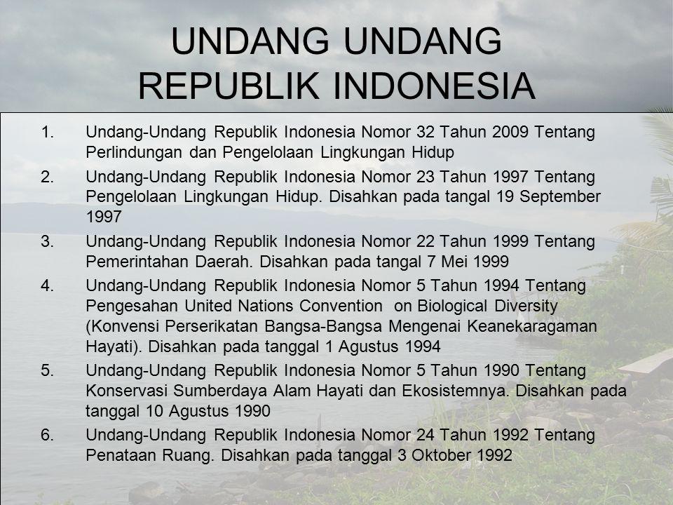 UNDANG UNDANG REPUBLIK INDONESIA 1.Undang-Undang Republik Indonesia Nomor 32 Tahun 2009 Tentang Perlindungan dan Pengelolaan Lingkungan Hidup 2.Undang-Undang Republik Indonesia Nomor 23 Tahun 1997 Tentang Pengelolaan Lingkungan Hidup.