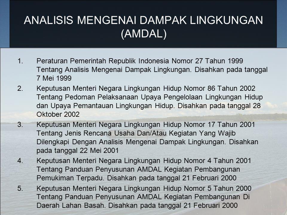 ANALISIS MENGENAI DAMPAK LINGKUNGAN (AMDAL) 1.Peraturan Pemerintah Republik Indonesia Nomor 27 Tahun 1999 Tentang Analisis Mengenai Dampak Lingkungan.