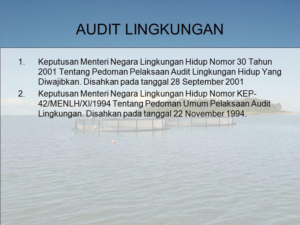 AUDIT LINGKUNGAN 1.Keputusan Menteri Negara Lingkungan Hidup Nomor 30 Tahun 2001 Tentang Pedoman Pelaksaan Audit Lingkungan Hidup Yang Diwajibkan.