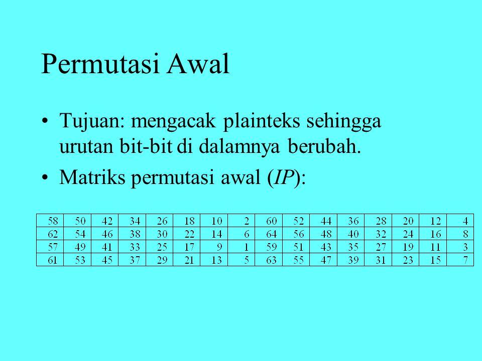 Permutasi Awal Tujuan: mengacak plainteks sehingga urutan bit-bit di dalamnya berubah. Matriks permutasi awal (IP):