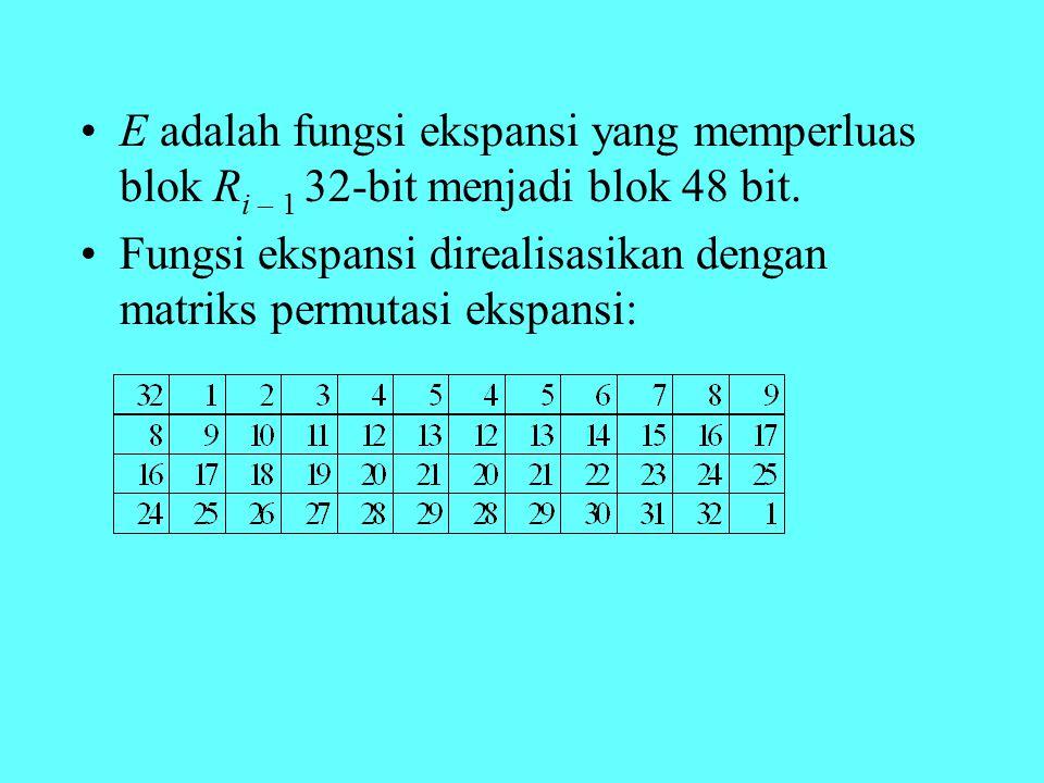 E adalah fungsi ekspansi yang memperluas blok R i – 1 32-bit menjadi blok 48 bit. Fungsi ekspansi direalisasikan dengan matriks permutasi ekspansi: