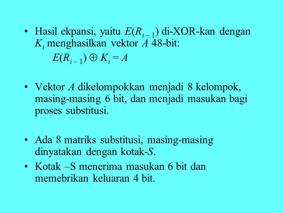 Hasil ekpansi, yaitu E(R i – 1 ) di-XOR-kan dengan K i menghasilkan vektor A 48-bit: E(R i – 1 )  K i = A Vektor A dikelompokkan menjadi 8 kelompok,