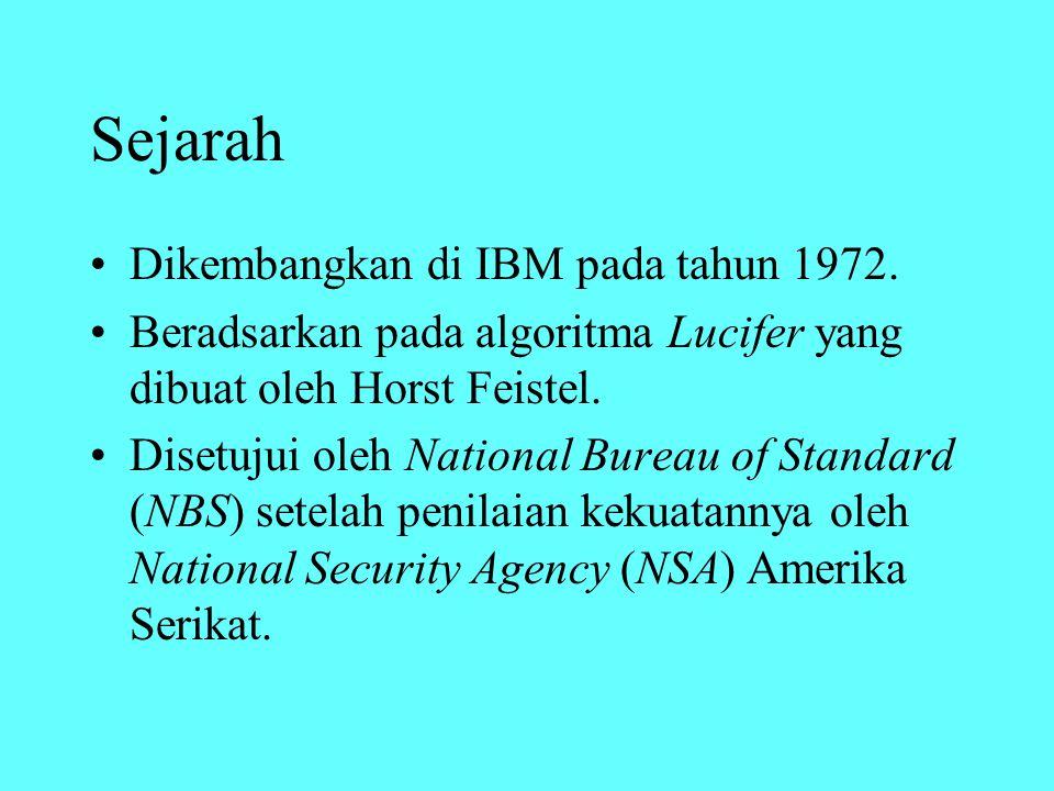 Sejarah Dikembangkan di IBM pada tahun 1972. Beradsarkan pada algoritma Lucifer yang dibuat oleh Horst Feistel. Disetujui oleh National Bureau of Stan