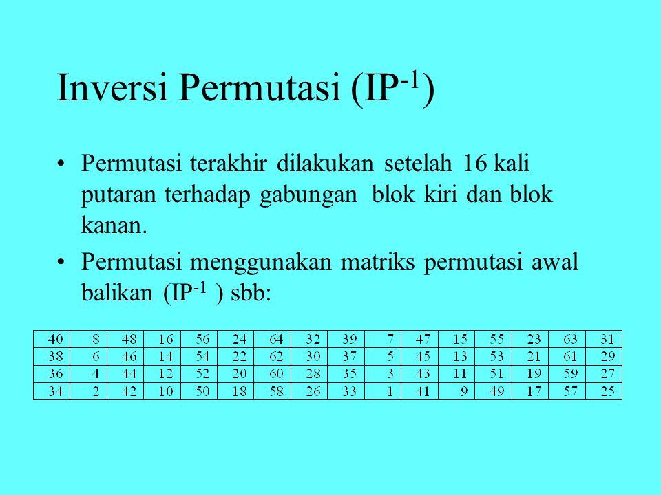 Inversi Permutasi (IP -1 ) Permutasi terakhir dilakukan setelah 16 kali putaran terhadap gabungan blok kiri dan blok kanan.
