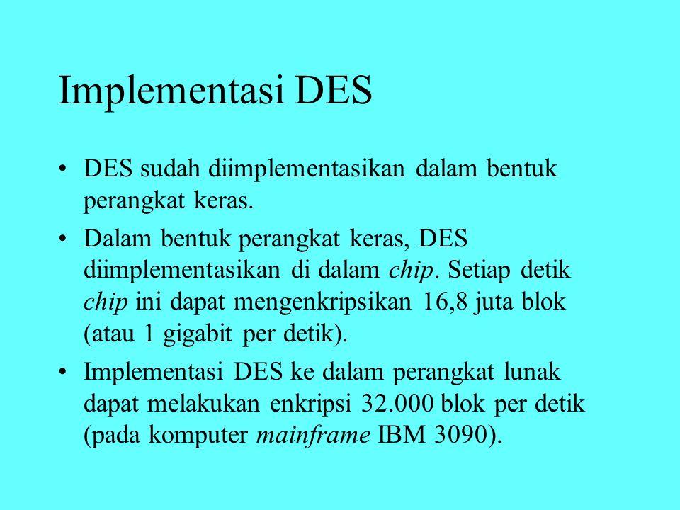 Implementasi DES DES sudah diimplementasikan dalam bentuk perangkat keras. Dalam bentuk perangkat keras, DES diimplementasikan di dalam chip. Setiap d