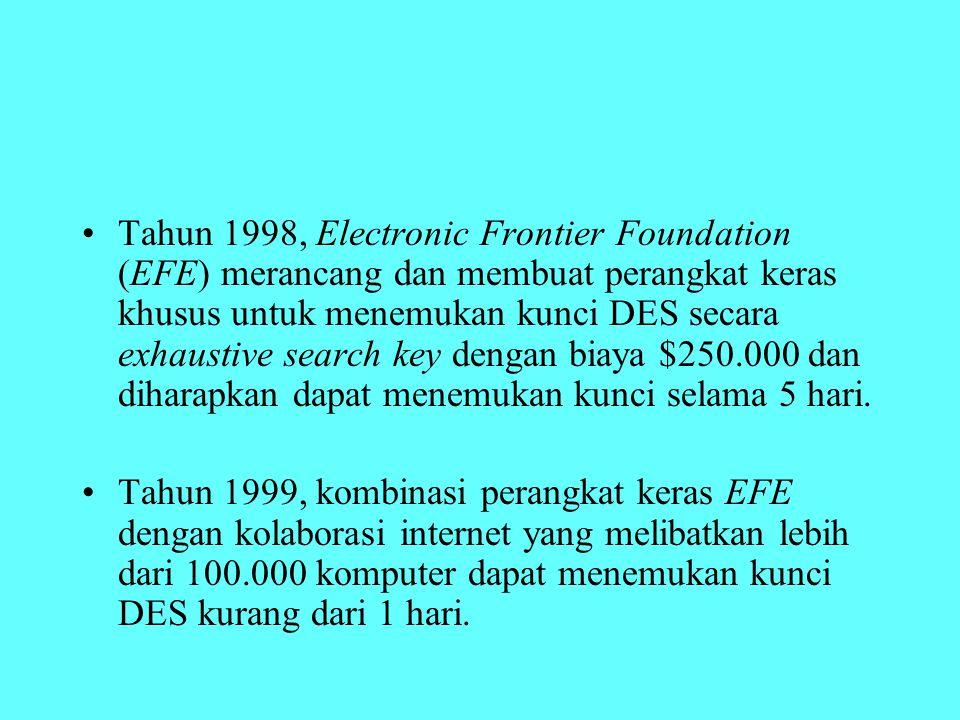 Tahun 1998, Electronic Frontier Foundation (EFE) merancang dan membuat perangkat keras khusus untuk menemukan kunci DES secara exhaustive search key d