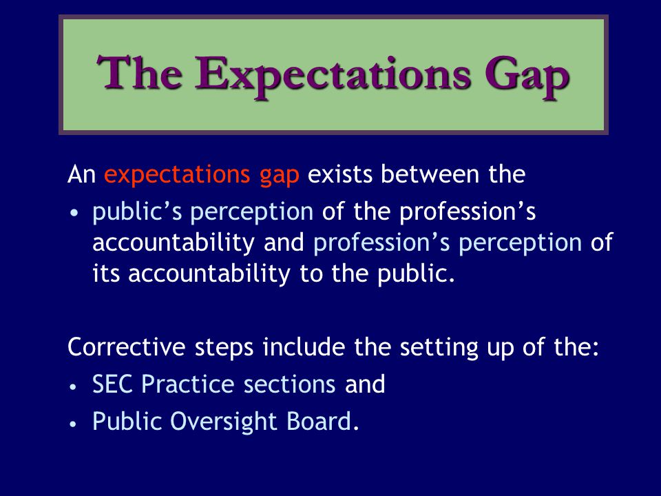An expectations gap exists between the public's perception of the profession's accountability and profession's perception of its accountability to the