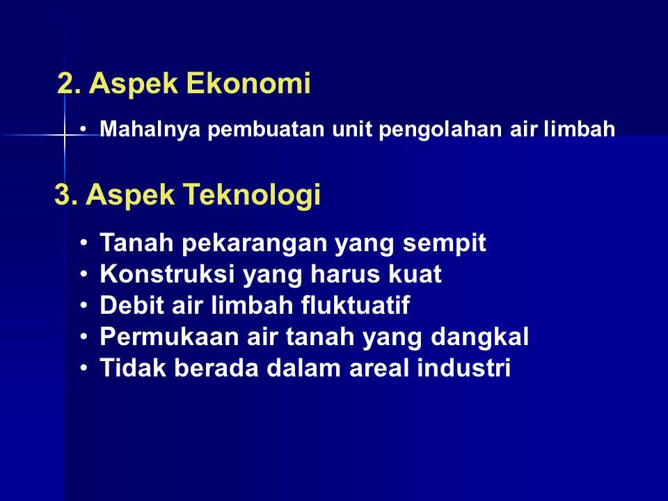 2.Aspek Ekonomi Mahalnya pembuatan unit pengolahan air limbah 3.