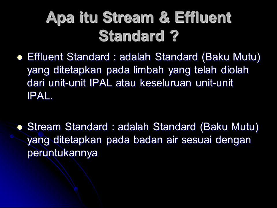Apa itu Stream & Effluent Standard ? Effluent Standard : adalah Standard (Baku Mutu) yang ditetapkan pada limbah yang telah diolah dari unit-unit IPAL
