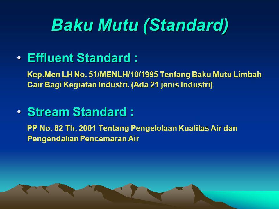 Baku Mutu (Standard) Effluent Standard :Effluent Standard : Kep.Men LH No. 51/MENLH/10/1995 Tentang Baku Mutu Limbah Cair Bagi Kegiatan Industri. (Ada
