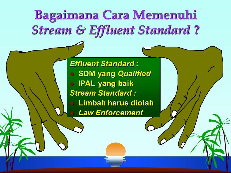 Bagaimana Cara Memenuhi Stream & Effluent Standard ? Effluent Standard : l SDM yang Qualified l IPAL yang baik Stream Standard : l Limbah harus diolah