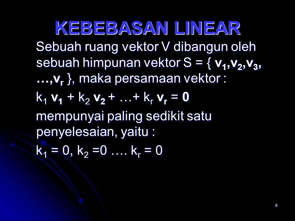6 KEBEBASAN LINEAR Sebuah ruang vektor V dibangun oleh sebuah himpunan vektor S = { v 1,v 2,v 3, …,v r }, maka persamaan vektor : Sebuah ruang vektor V dibangun oleh sebuah himpunan vektor S = { v 1,v 2,v 3, …,v r }, maka persamaan vektor : k 1 v 1 + k 2 v 2 + …+ k r v r = 0 k 1 v 1 + k 2 v 2 + …+ k r v r = 0 mempunyai paling sedikit satu penyelesaian, yaitu : mempunyai paling sedikit satu penyelesaian, yaitu : k 1 = 0, k 2 =0 ….