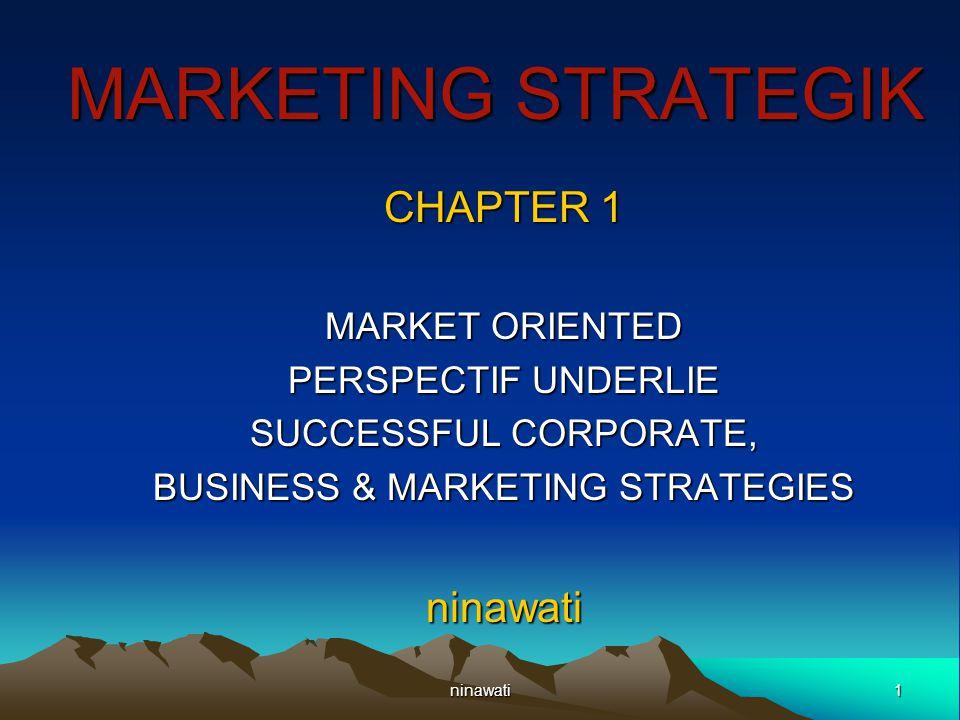 ninawati12 Strategi tingkat bisnis Fokusnya: bagaimana suatu bisnis bersaing dalam industrinya Mencari keuntungan kompetitif dan secara terus menerus Strategi tingkat bisnis harus menunjukkan jangkauan yang sesuai Sinergi harus didapatkan di seluruh pasaran produk dan departemen fungsional dalam bisnisnya