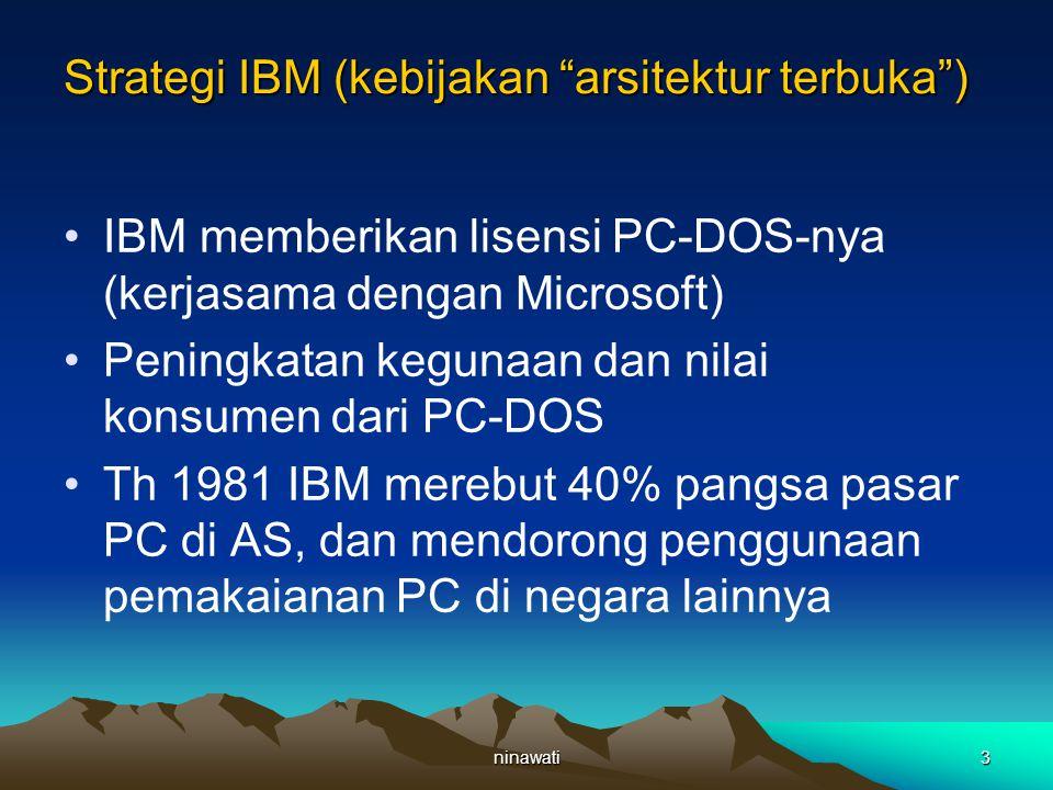 ninawati4 Strategi IBM (kebutuhan perubahan) Th 1990-an mengalami penurunan pendapatan karena jatuhnya harga dan penurunan permintaan Perubahan teknologi, penggunaan internet dan intranet Konsumen tidak perduli dengan teknis tetapi mulai memperhatikan harga yang dipakai oleh pesaing IBM (Dell, HP)