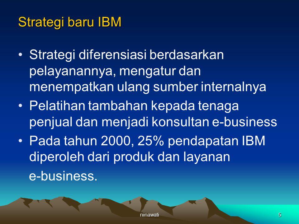 ninawati5 Strategi baru IBM Strategi diferensiasi berdasarkan pelayanannya, mengatur dan menempatkan ulang sumber internalnya Pelatihan tambahan kepada tenaga penjual dan menjadi konsultan e-business Pada tahun 2000, 25% pendapatan IBM diperoleh dari produk dan layanan e-business.