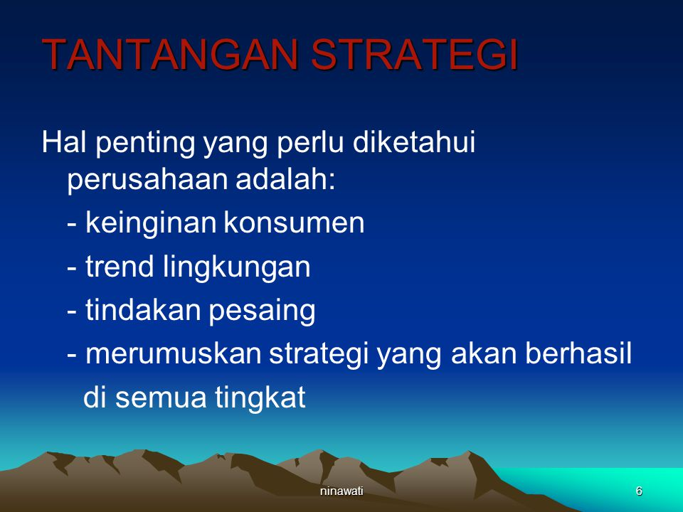ninawati7 Tiga tingkatan strategi 1.Apakah arti strategi? 2.Komponen strategi 3.Hirarki strategi