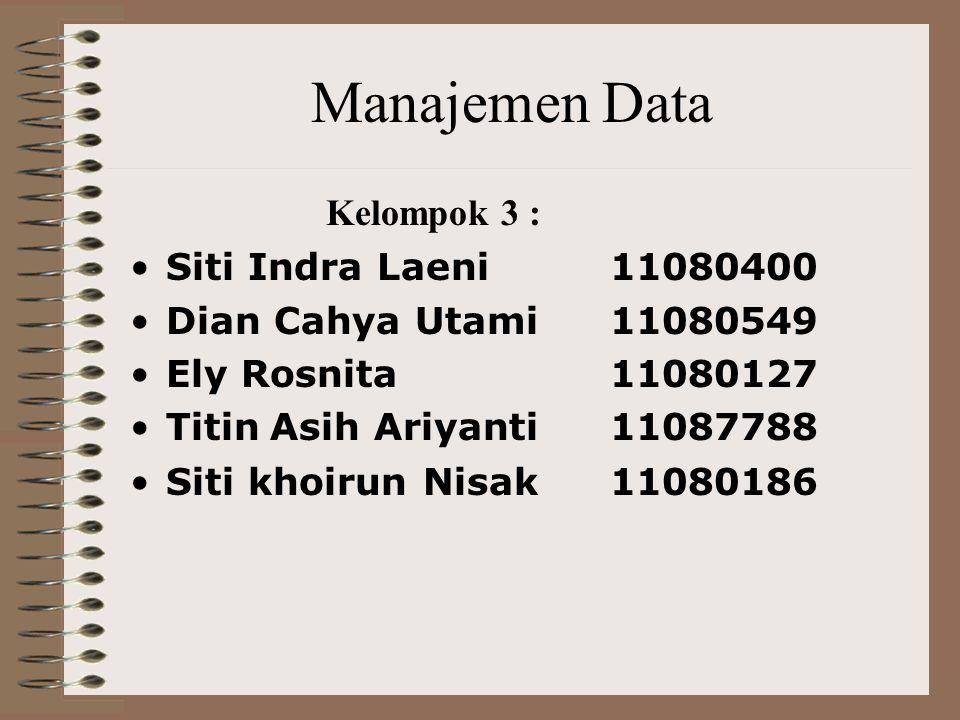 Manajemen Data Kelompok 3 : Siti Indra Laeni11080400 Dian Cahya Utami11080549 Ely Rosnita 11080127 Titin Asih Ariyanti11087788 Siti khoirun Nisak11080186