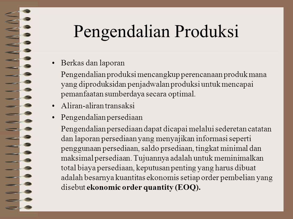 Pengendalian Siklus Transaksi Dalam Proses Bisnis Produksi Fungsi-Fungsi umum dalam siklus produksi di perusahaan-perusahaan manufaktur adalah: Pengen