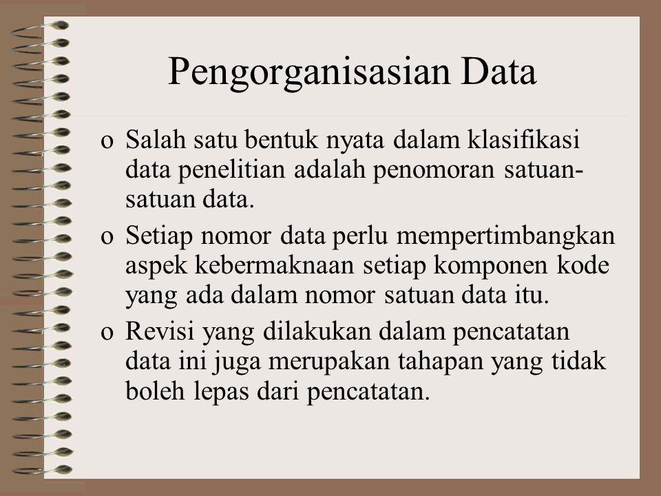 Pengorganisasian Data oSalah satu bentuk nyata dalam klasifikasi data penelitian adalah penomoran satuan- satuan data.