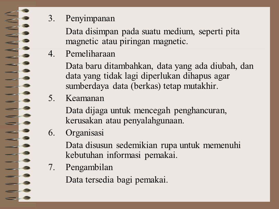 3.Penyimpanan Data disimpan pada suatu medium, seperti pita magnetic atau piringan magnetic.