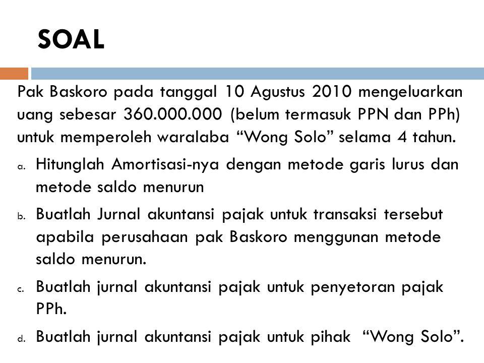 """SOAL Pak Baskoro pada tanggal 10 Agustus 2010 mengeluarkan uang sebesar 360.000.000 (belum termasuk PPN dan PPh) untuk memperoleh waralaba """"Wong Solo"""""""